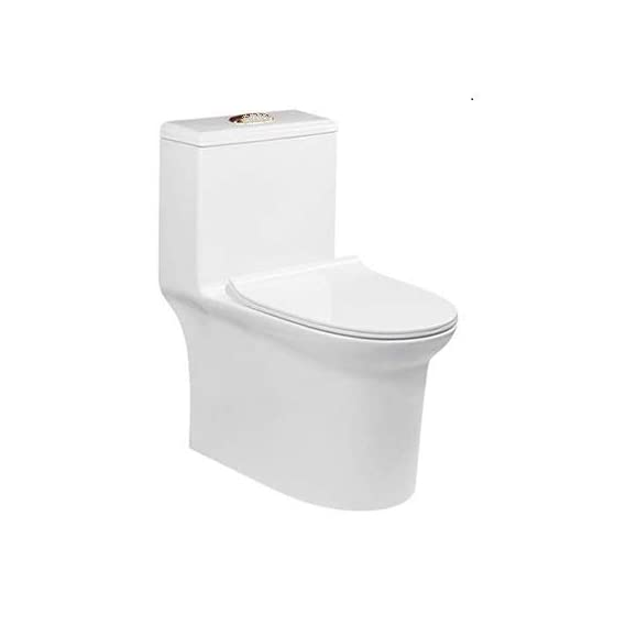 Ceramic Floor Mounted One Piece Square S Trap Ceramic Water Closet with Tornado Flushing System (Standard, White)