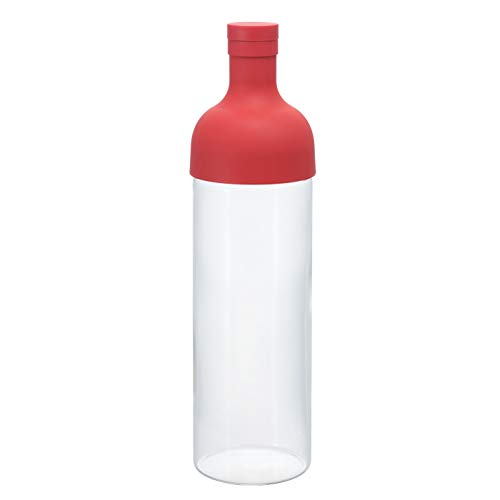 Hario Filter Bottle 750ml Red FIB-75-R (Japan Import), Kunststoff, rot, 10 x 10 x 25 cm -