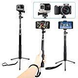 AnKooK Selfie Stick, Bastone Selfie Treppiede per GoPro/Akaso EK7000/Apeman/Dbpower/campark-occhiali/Crosstour Sport Action Camera e pi¨´ e iPhone/xiaomi, 360 ¡ãrotazione