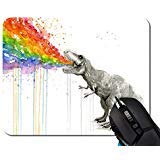 Aquarelle Dinosaure Spray Rainbow personnalisée rectangle en caoutchouc antidérapant Tapis de souris gaming mouse pad