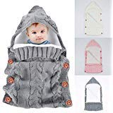 Yinuoday Wickeldecke für Neugeborene, warme Fleece, gestrickt, mit Kapuze, Schlafsack, Kinderwagen, für 0-12 Monate