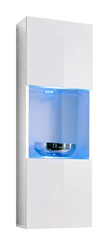 Muebles bonitos vetrinetta sospesa modello oleggio bianco con led - larghezza: 40cm x altezza: 126cm x profondità: 29 cm lettiemobili