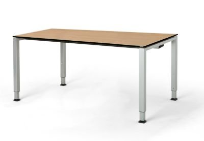 mauser Rechtecktisch, Fußform Quadratrohr - HxBxT 650 – 850 x 1600 x 900 mm, Vollkernplatte, Gestell alufarben - Tischsysteme Bürotische...