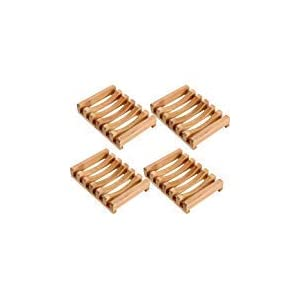 4 Piezas de Jabonera de Madera Soporte Caja de Jabón de Madera Rectangular Natural para Cocina Baño Esponja Jabon…