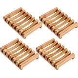 Norme 4 Stücke Holz Seifenschale Seifenhalter Natürliche Rechteckige Holz Seife Fall Halter für Küche Bad Schwamm Wäscher Seife -