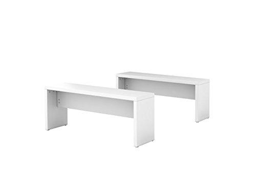 Set mit 2 Bistrobänken 118x34x45cm(BxTxH) Weiß