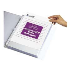 Hvywt Poly Sht Protector, Antimicrobial, Clear, Top-Loading, 11 x 8 1/2, 100/BX, Sold as 1 Box by C-Line
