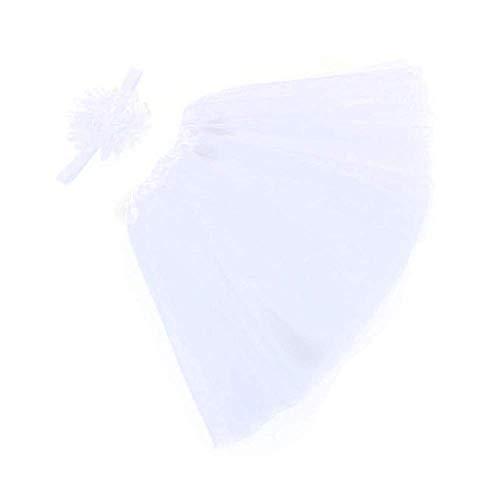 WOZOW Mädchen Tüllrock Einfarbig Blumen Stirnband Ballettrock Tanzkleid Minirock Prinzessin Crinoline Petticoat Weihnachten Fasching Röckchen