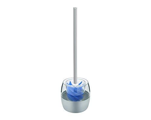 Sanwood 1240903 WATERCLOU innovative WC-Bürstengarnitur aus Silikon ohne Borsten - Edelstahl-Stiel Behälter Edelstahl/Kunststoff - blau