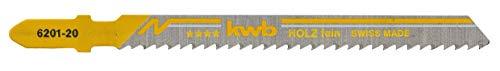 KWB 49620125 Pack de 5 hojas de sierra de calar para madera y pvc, corte fino, Set de 5 Piezas