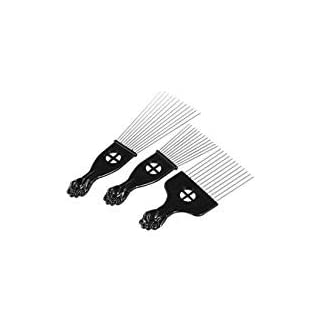 Anself 3Pcs Afro Combs, Professional Metal African American Hair Comb for Hairdressing Styling Tool