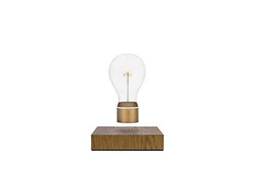 FLYTE Royal LED-Dekoleuchte, schwebend per Magnetismus, Induktionsladung, Glühbirne, Lampe, Gold mit Eichenholz -