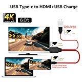 USB Type C 3.1 vers HDMI Cable 1,8 m avec port de chargement USB, If-link convertisseur USB 3.1 type C vers HDMI Cordon Compatible Samsung Galaxy//S8/S9 TV/moniteur/Vidéoprojecteur, MacBook
