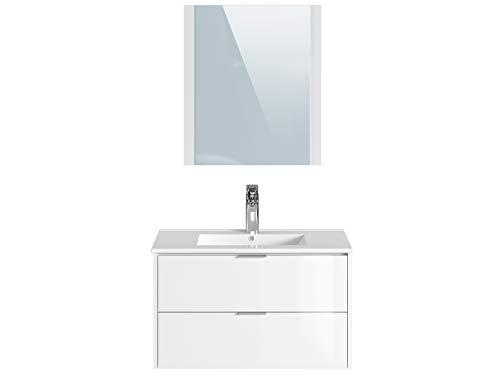 Movian Sauldre - Mobile lavabo con specchio e lavandino, 81 x 46,5 x 49 cm, colore bianco