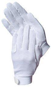 Baumwoll Reit Handschuhe weiß mit Grip verschiedene Größen, Auswahl:M
