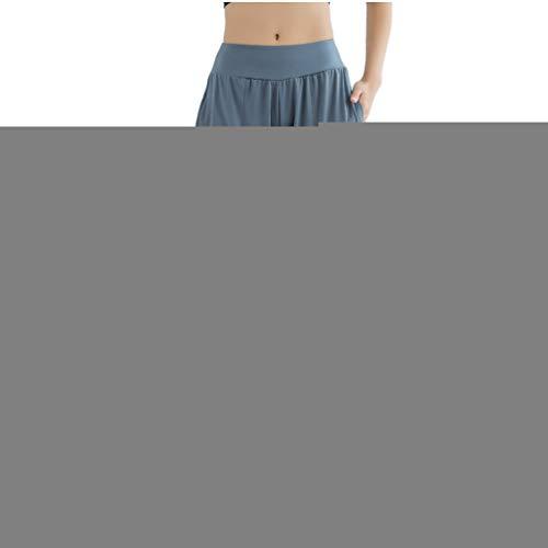 Mengmiao Pantaloni Yoga da Donna Sport Lunghi Baggy Casual Vita Alta Pantaloni da Fitness Allenamento (Blu, Asia L)