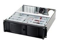 FANTEC TCG-3810X07-1 Server Gehäuse (48,3 cm (19 Zoll) 3HE IPC Gehäuse mit 528 mm Tiefe, ohne Netzteil, 4x 13,34 cm (5,25 Zoll) und 2x 8,89 cm (3,5 Zoll) Einschübe offen, 1x 8,89 cm (3,5 Zoll) Einschub intern, 2x 60 mm Lüfter, 2x Front USB Anschlüsse, Luftfilter, Fronttüren abschließbar) schwarz
