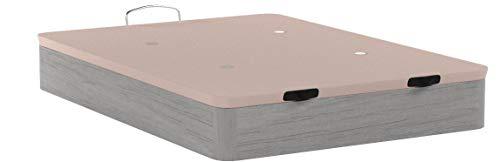 HOGAR 24 Canapé Abatible Madera Gran Capacidad con Tapa 3D y Válvulas de Transpiración, con Esquineras en Madera Maciza, Color Roble Cambrian, 135X190cm