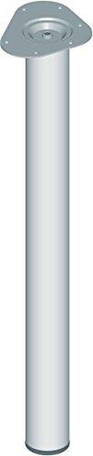 Element System 4 Stück Stahlrohrfüße rund, Tischbeine, Möbelfüße inklusive Anschraubplatte, Länge 70 cm, Durchmesser 60 mm, 4 Farben, 6 Abmessungen, chrom, 11102-00038