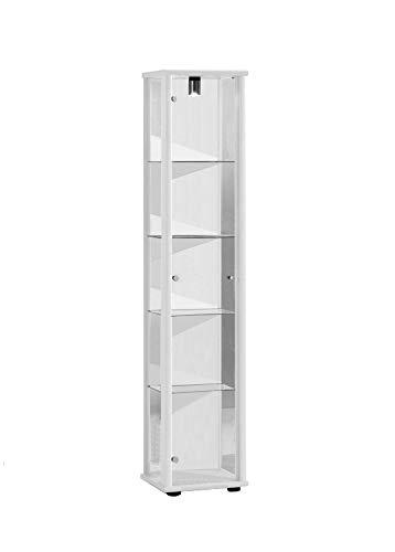Vitrine 176x37x33 cm collection miniature couleur blanc avec 4 étagères en verre, avec éclairage