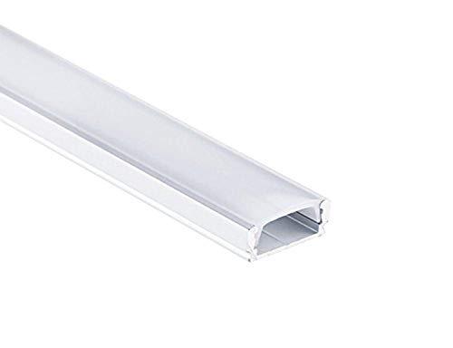 Profi LED Profil für LED Stripes - Serie Aufbauprofil Mini 12 eloxiert (Alu-Profil SET 8M (4x2M) Aluminium Aufbauprofil Mini 12 mit flacher milchiger Abdeckung)