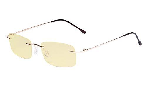 Eyekepper Computer-Lesebrille,Blaulichtblocker,-Flexible randlose Brille Damen und Herren,Gelb getönt,GOLD+0.50