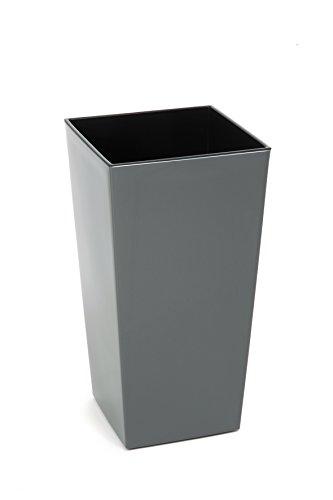 Kreher XXL Design Pflanztopf aus Kunststoff in Hochglanz Grau mit Herausnehmbaren Einsatz. Maße BxTxH in cm: 40 x 40 x 75,3 cm. 91,5 Liter Volumen!