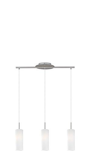 EGLO Hängeleuchte, Stahl, E27, Nickel-matt/Weiß, 72 x 10.5 x 110 cm -