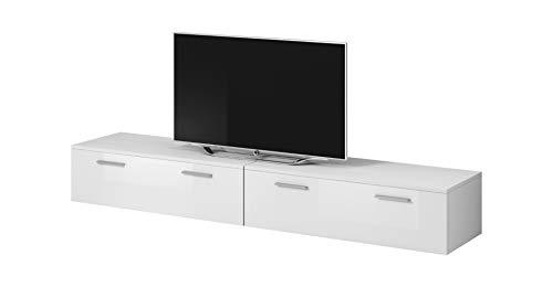 TV Möbel Lowboard Schrank Ständer Boston Korpus weiß/Front weiß Hochglanz 200 cm