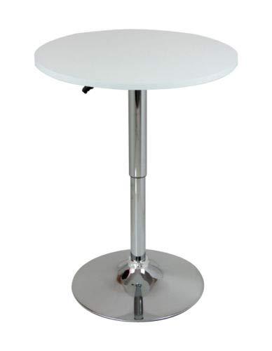 eSituro SBST0092 1 x Bartisch Esstisch Küchentisch Stehtisch, höhenverstellbar & 360° drehbar, Tischplatte φ 60cm, Weiss