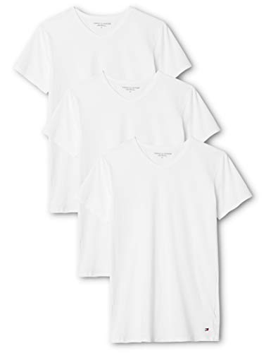Tommy Hilfiger Herren Vn Tee ss 3 Pack Premium Essentials Unterhemd, Weiß (White 100), Medium (3erPack) - 3-pack-v-neck T-shirt