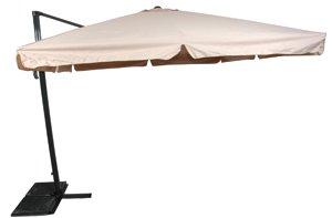 Sonnenschirm Ampelschirm 3x3m ecru PE-Schutzhülle drehbarer Fuß