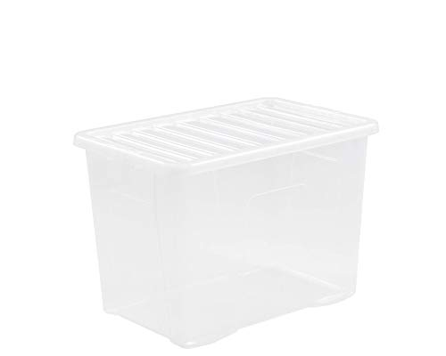 Wham 5 x 11315 Crystal Box mit Deckel - 80 Liter - 60 x 40 x 42 cm - transparent