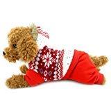 SELMAI Schneeanzug für kleine Hunde und Katzen, mit Kapuze, aus Fleece, warm, für den Winter, für Welpen, Welpen, Schneeflocken, Größe S, wählen Sie eine Größe größer, XL, ()