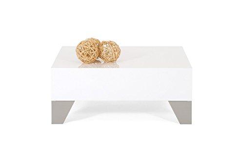 Mobilifiver Evo 60 Table Basse, Bois, Blanc Brillant, 60 x 60 x 24 cm
