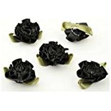 20 Stück Stoffblumen Streublumen mit Aufreihloch ca. 33x30mm zum Dekorieren und Basteln (Schwarz)
