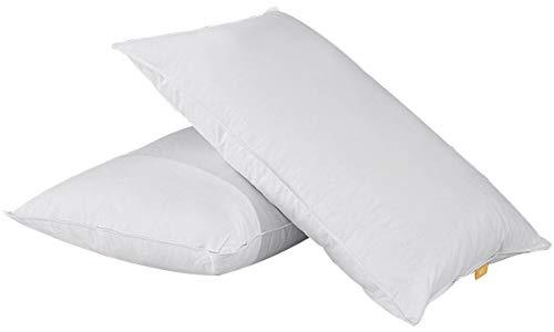 coppia di cuscini in piuma d\'oca e cuscino naturale lavabile in cotone 100{b0e555c8f61825705d92bc0ad3d7c31f29937bad4fbc87892e3192eaeece5cd6}, bianco,48x74cm