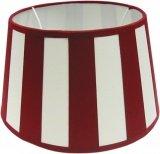 Tisch-Lampenschirm *rund* , Chintz creme mit rotem Balkenstreifen Du=20 /Do=15 / schräge H=12cm , Befestigung unten E27 & E14 mit Reduzierring, inklusive)