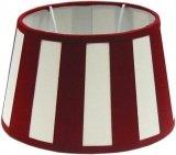 Tisch-Lampenschirm, Chintz.*oval*, Balkenstreifen rot/creme / Du=22 / Do=17 Hschräg=14cm Befestigung unten E27 (optional lieferbar Reduzierring auf E14)