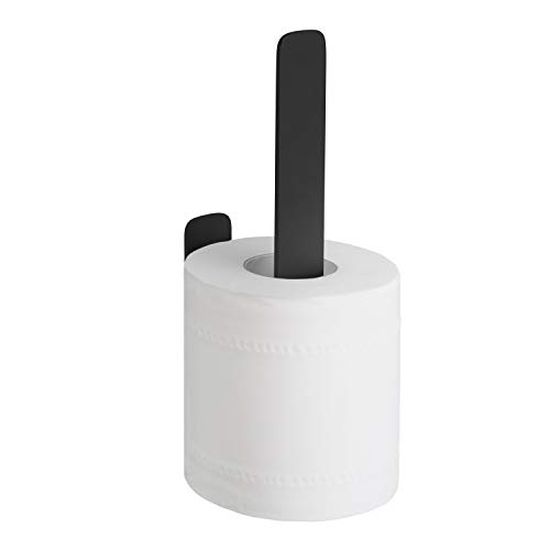 WEISSENSTEIN WC-Ersatzrollenhalter - Toilettenpapierhalter Edelstahl ohne bohren - Rollenhalter Wand selbstklebend - schwarz