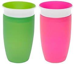 Munchkin Miracle 360ᵒ Trinkbecher 296 ml - 2er Pack (Farbe: Grün, Pink)