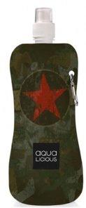 Preisvergleich Produktbild AQUA-LICIOUS Faltbare Trinkflasche mit Karabiner, Wiederverwendbar, viele Motive (Army)