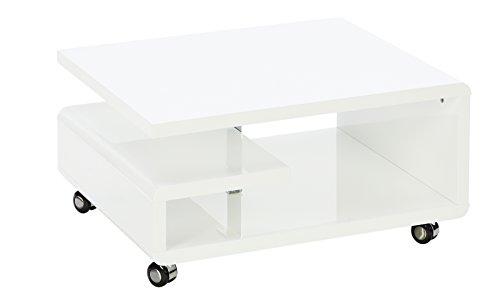 Robas Lund Kira Mesa de Centro y de Salón, MDF, Blanco, 16x66x80 cm