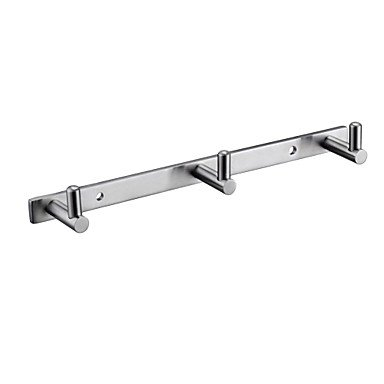 Tap Bathroom Towel Rail/Rack with 3 Hooks Wall Mount, Brushed