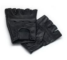 Lederhandschuhe, fingerlose Handschuhe aus Leder, Schwarz S - XXL XL