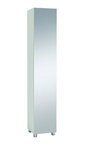 demeyere Bikini Kolonne Türig mit Spiegel, 35 cm, Spanplatte, Weiß, 34.9 x 34.4 x 187 cm
