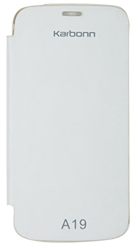 iCandy White Synthetic Leather Flip Cover For Karbonn A19  available at amazon for Rs.99