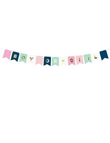 PartyDeco Baby Boy or Girl Girlande Banner rosa hellblau Gold, Variante: Boy or Girl