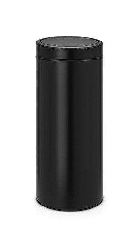 Top Shop Brabantia Touch Bin New Abfalleimer aus Metall Deckel Dampfkochtopf 30Liter Schwarz Matt (Touch Bin 30l)