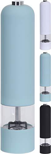 hibuy Elektrische Gewürzmühle Pfeffermühle, Batteriebetrieben, für Pfeffer, Salz, Meersalz und Ander mahlfähige Kräuter und Gewürze, Schwarz - Soft-Touch